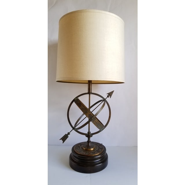 Turquoise Mid Century Frederick Cooper Astrological Armillary Table Lamp For Sale - Image 8 of 8