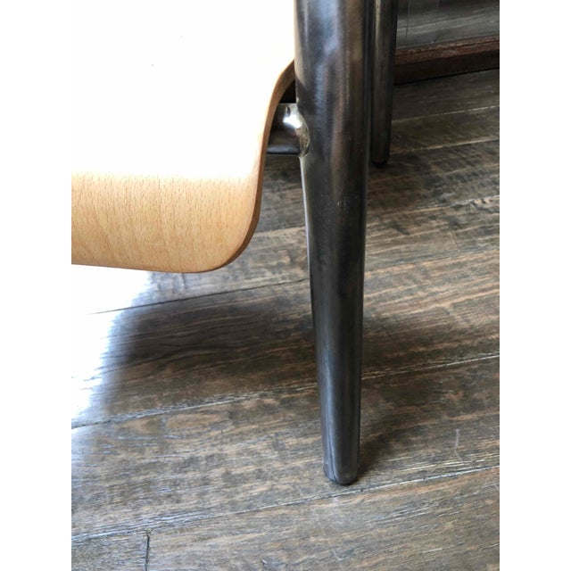 Mid-Century Modern 1950s Pair or Set of Four Metal and Wood Arm Chairs For Sale - Image 3 of 5