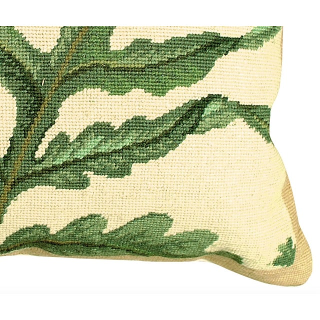 This Fern Pillow is a handmade needlepoint. The face of this pillow is 100% wool and is made up of roughly 100 stitches...