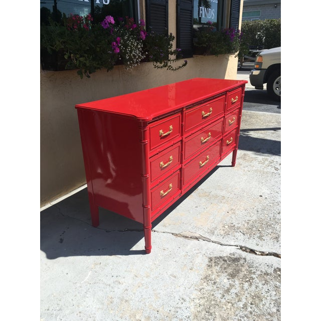Henry Link 1970s Vintage Henry Link Red Lacquered Faux Bamboo Dresser For Sale - Image 4 of 6