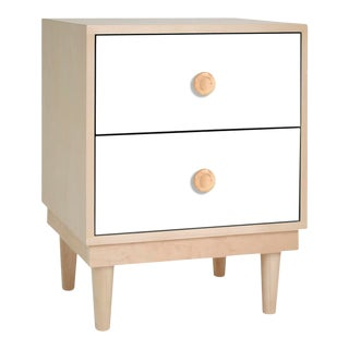 Lukka Modern Kids 2-Drawer Nightstand in Maple With White Finish For Sale
