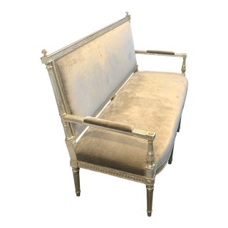 Windsor Smith Regency Velvet Upholstered Settee For Sale