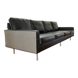 1960's Milo Baughman Thayer Coggin Houndstooth & Vinyl Four Seat Sofa With Chrome Legs For Sale