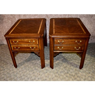 Vintage Chinese Chippendale Lane Inlaid Mahogany Side Tables - a Pair Preview