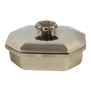 1960s Art Deco Brass Octagon Flower Lidded Box