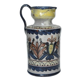 Vintage Guanajuato Capelo Majolica Pottery Pitcher For Sale