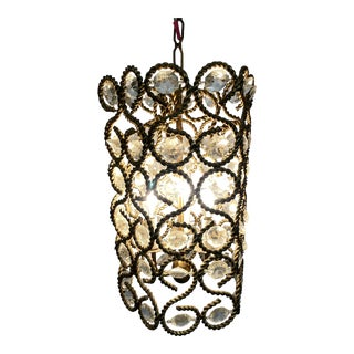 Mid 20th Century Hollywood Regency Brass + Crystal Pendant For Sale