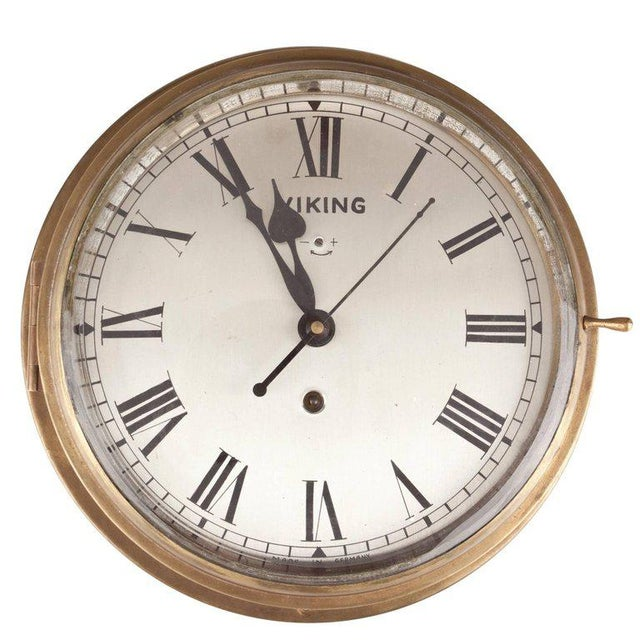 Gold Brass Ship's Clock by Viking, Circa 1960s For Sale - Image 8 of 8