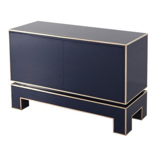 Brass and Blue Two-Door Cabinet Maison Jansen For Sale
