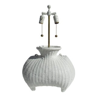 Vintage C.1970s Mid-Century Modern, John Dickinson Attr. Plaster Basketweave Footed Lamp