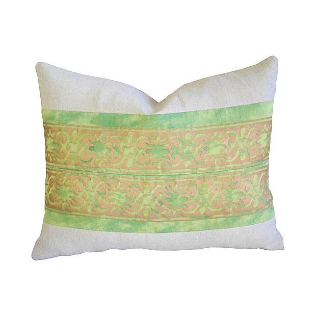 Custom Italian Fortuny Pillows - A Pair - Image 2 of 4