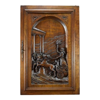 Late 19th Century Large Carved Solid Wood With Horse Chariot Panel Door For Sale