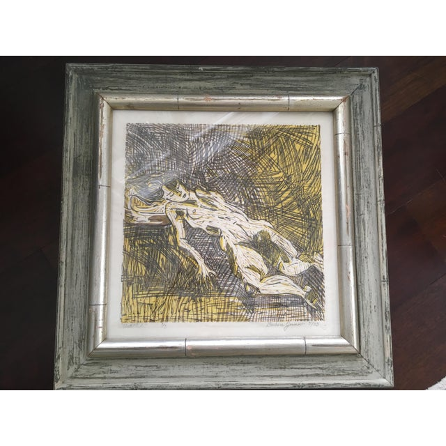 Vintage Mid-Century Abstract Nude Woman Signed Block Print Lithograph For Sale - Image 6 of 11