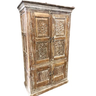 Antique Armoire Carved Artistic Farmhouse Cabinet For Sale