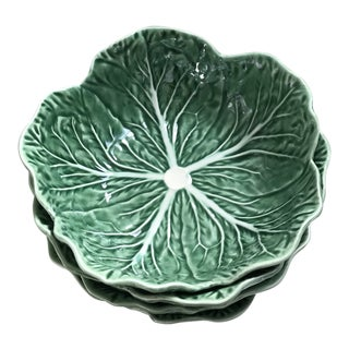 Bordallo Pinheiro Majolica Cabbage Leaf Bowls - Set of 4 For Sale
