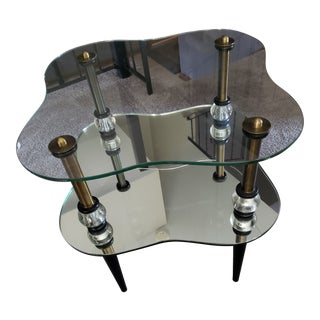 Semon Bache & Co. Glass and Mirror End Table For Sale