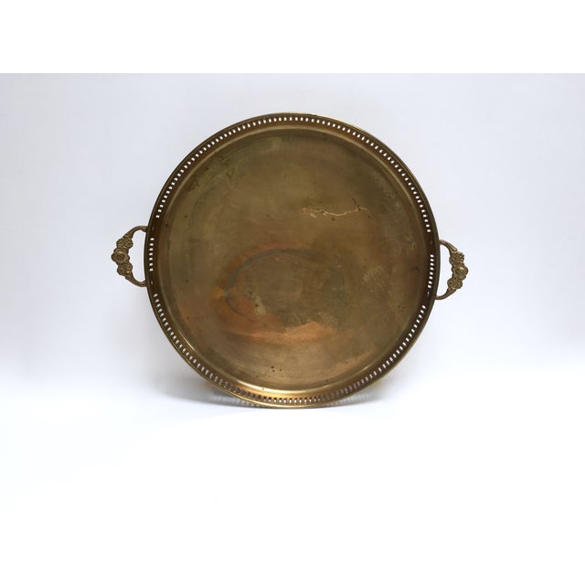 Round Vintage Brass Tray With Floral Handles - Image 2 of 8