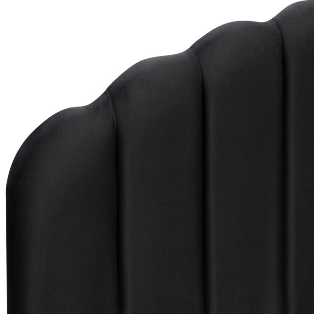 Cloth & Company Queen Shell Platform Bed in Shantung Black For Sale - Image 4 of 5