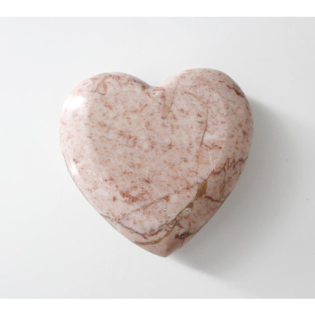 Late 20th Century Vintage Pink Marble Heart Paperweight Mid Century Figurine For Sale - Image 5 of 5