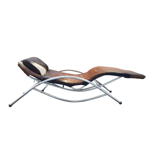 Modernist Cowhide Chaise Lounge - Image 2 of 7