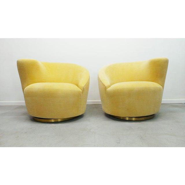 "Modern Post Modern Vladimir Kagan for Weiman Swivel ""Nautilus"" Corkscrew Club Chairs- A Pair For Sale - Image 3 of 13"