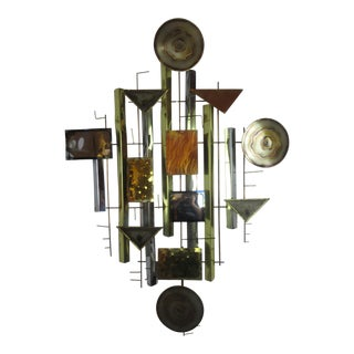 Abstract Brutalist Metal Wall Sculpture