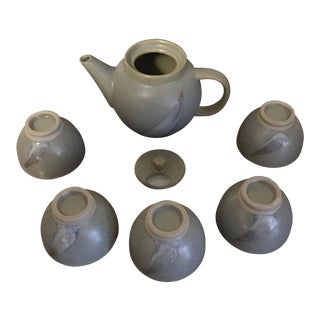 Vintage Pottery Sake Set of 6 For Sale