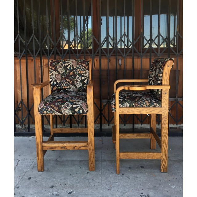 Brown Vintage Mid Century Barstools- A Pair For Sale - Image 8 of 13