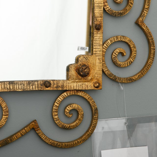 1960s Large Italian Gilt Metal Horizontal Scrollwork Mirror For Sale In Detroit - Image 6 of 8