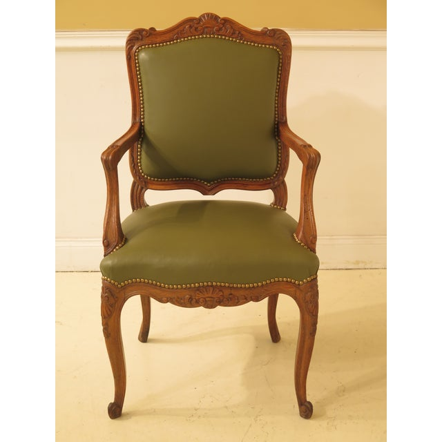 1930s Vintage French Carved Oak Leather Dining Room Chairs- Set of 12