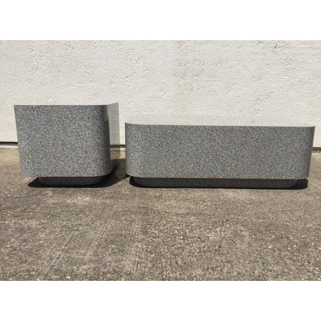 1980s AbstractGranite Laminate Modular Pedestal Table Set - 2 Pieces For Sale - Image 4 of 11