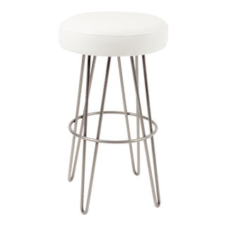White Leather Hairpin Swivel Barstool For Sale