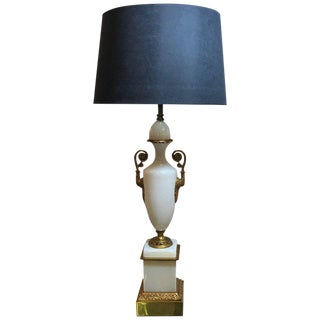 French Hollywood Regency Opaline Neoclassical Urn Lamp With Gilt Bronze Mounts For Sale