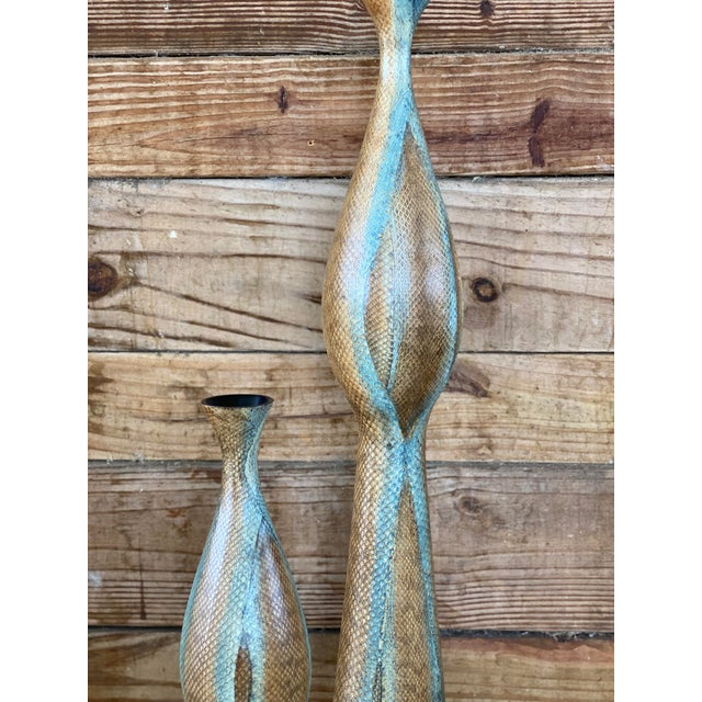 Resin Snake Skin Wrapped Resin Vases - Set of 3 For Sale - Image 7 of 13