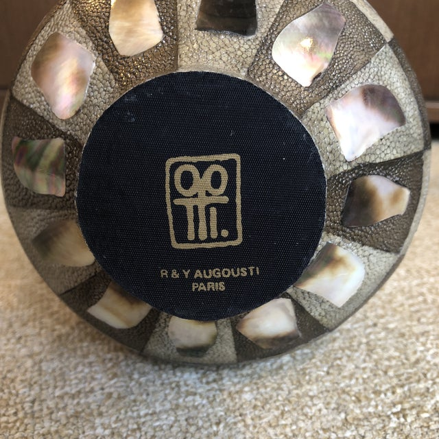 Abalone R & Y Augousti Paris Abstract Shagreen and Abalone Vase For Sale - Image 7 of 8