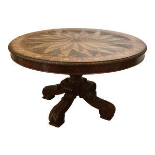 Maitland Smith Compass-Inlaid Mahogany Center Hall Table For Sale