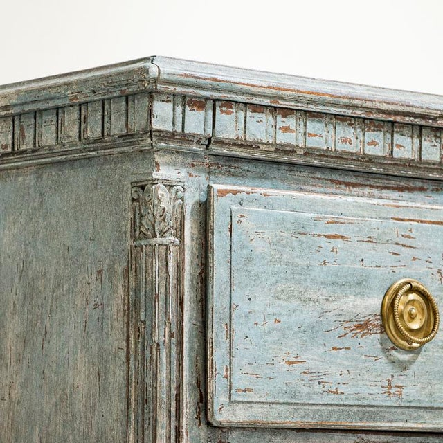 Blue Large Antique Blue Painted Chest of Drawers From Sweden For Sale - Image 8 of 13