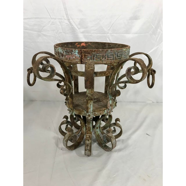 Wrought Iron Fretwork Planters a Pair For Sale - Image 4 of 13