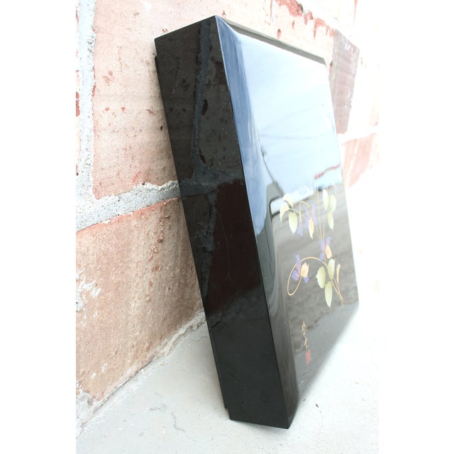 Asian Black Lacquer Stationery Box - Image 4 of 9