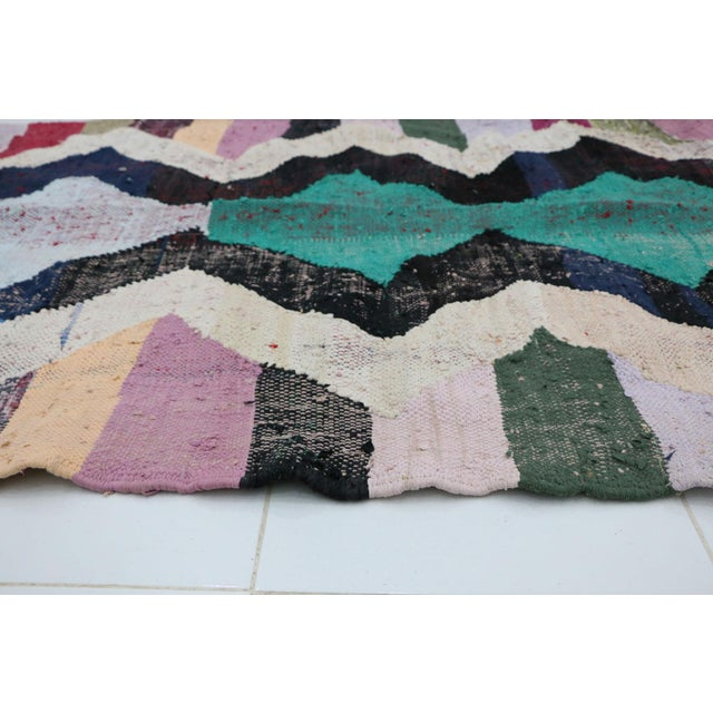 "Boho Chic Kilim Boucherouite Moroccan Kilim, 3'10"" X 7'7"" Feet For Sale - Image 3 of 6"