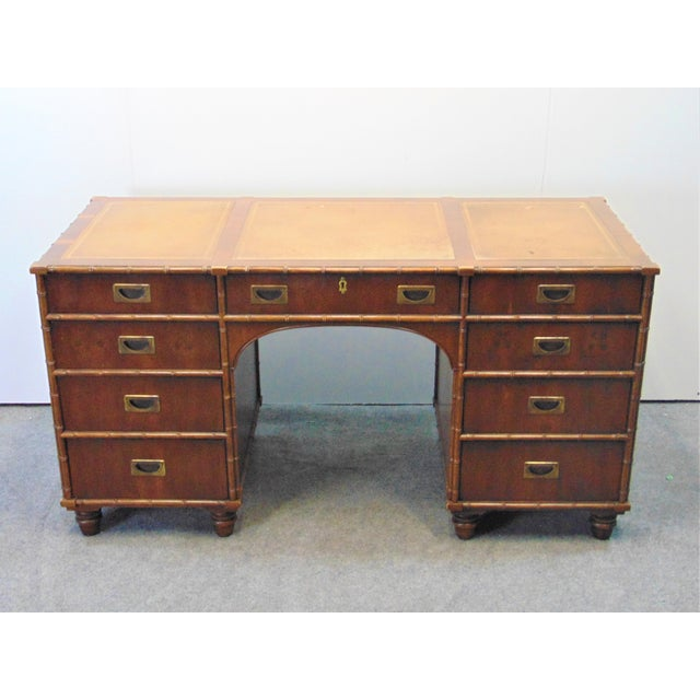 Henredon 18th Century Portfolio collection desk, fruitwood with 3 sectioned leather top, faux bamboo trim on corners,...