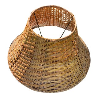 Vintage Woven Rattan Boho Wicker Palm Beach Tropical Lamp Shade For Sale