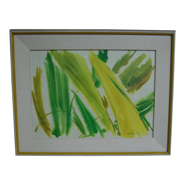 Tropical Leaves Framed Water Color by Norma Green For Sale