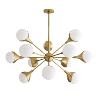 Arteriors Mid-Century Modern Inspired Antique Brass Finished Augustus Chandelier For Sale
