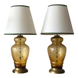 1950s Vintage Italian Large Scale Glass Lamps- A Pair For Sale