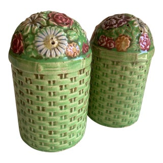 Large Vintage Floral Ceramic Salt & Pepper Shakers, a Pair For Sale