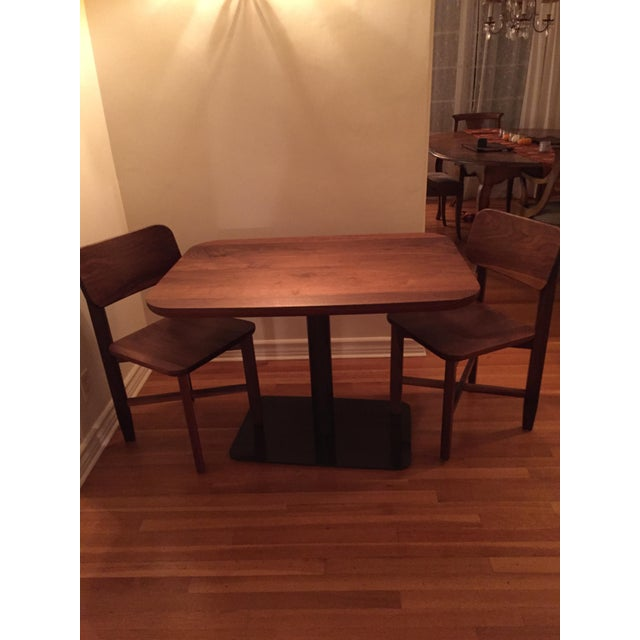 Rich Walnut Cafe Table & 2 Chairs - Image 7 of 9