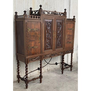 19th Century Wood Carved Cupboard, Cabinet on Stand With Iron Stretcher Preview