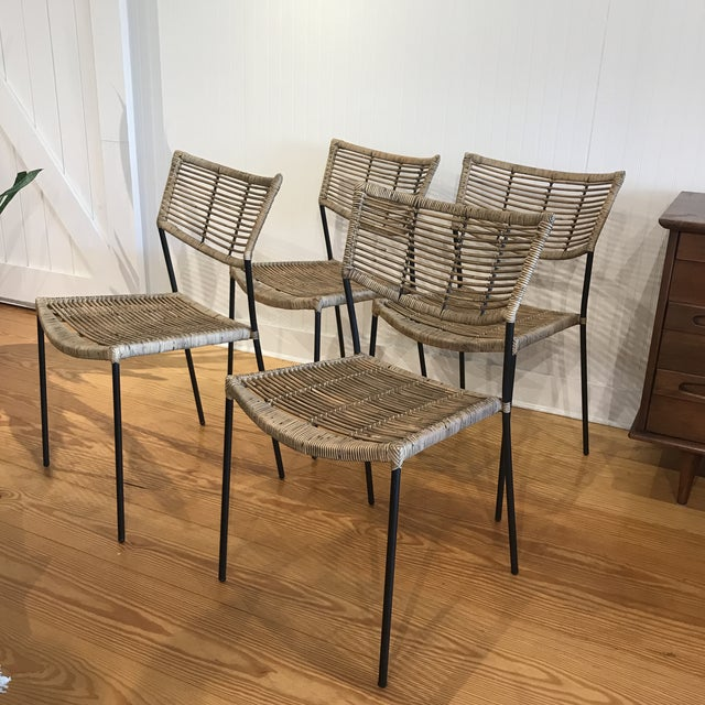 Modern Rattan and Wrought Iron Dining Side Chairs- 2 Left For Sale - Image 11 of 11