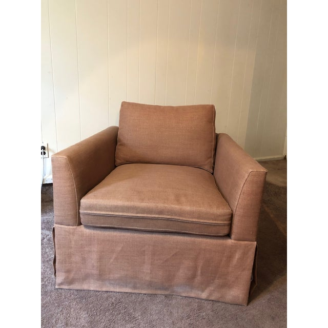 Brown 21st Century Vintage Jute Brown Slipcover Swivel Chair For Sale - Image 8 of 8